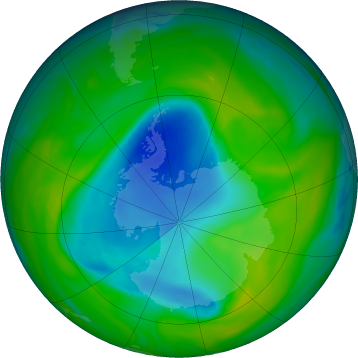 Antarctic ozone map for 27 November 2018